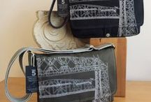 Aerial Lift Bridge Messenger Bags / Handcrafted canvas messenger bags and laptop bags embellished with original art print of the Duluth Aerial Lift Bridge