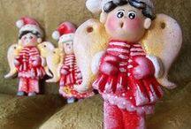 Masa solna - Aniołki Mikołajki / Mikołajkowe aniołki z masy solnej