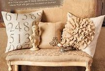 Crafting with Burlap / Think beige and burlap are boring? Think again! From pillows to ribbon and everything in between... neutrals are in vogue and here to stay.