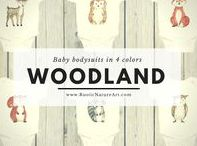 Woodland Animals Clothing / High quality printed cute animals from Woodland theme on budysuits, t-shirts, youth clothing. Every clothes are made to order. © 2017 RusticNatureArt.com - ORIGINAL AND CUSTOM DESIGN! Artwork is copyrighted and may not be copied or imitated in whole or in part.