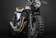 Coffee motorcycles / Stylish motorbikes with colors of coffee and back. Oldtimer bikes and naked bike mixing the modern and oldschool style. Every men wants to ride a bike like this once. Rustic design