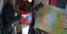 """Maleforløb """"Mal dig Glad"""" med Tina Hee / Fotos fra maleforløb i mit atelier."""
