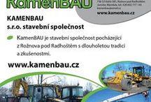 KAMENBAU s.r.o. - stavební společnost / KamenBAU je stavební společnost pocházející z Rožnova pod Radhoštěm s dlouholetou tradicí a zkušenostmi. Naše firma se zabývá prováděním staveb, zemními pracemi a autodopravou. Disponujeme potřebnou mechanizací, zařízením, měřící technikou a zkušenými zaměstnanci