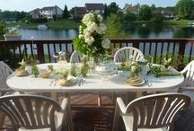 Jessica Lillians Garden Parties / Inspiration: Green vintage votives, Garden party, flowers, green, yellow, vintage tablescapes, outdoors, plants, etc....
