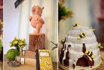 Bumble Bee & Bear Themed Events   / Honey.Bears. Bumble Bees. Black.Yellow. Polka Dots. Stripes. Balloons. Daisys. Winnie the Pooh.