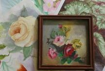 Vintage Florals / I adore vintage florals on everything from framed pictures, bed linens, wallpaper, waste baskets, tins, curtains, tablecloths, vintage aprons, hankies, and more!