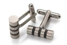 CUFFLINKS - Boccia Titanium - Skin Friendly. / Boccia Titanium Rectangular Cufflinks  Brushed with Polished Gold-Plated Diagonal Stripe.  Polished and Satin Finish  12 x 18mm. Ladies,get your men these cuffs for Valentines >> https://www.superelitetrends.com/collections/types?q=Cufflinks
