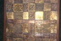 Weaving copper / Copper and brass woven,hand hammered.Wall art.