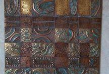 Weaving copper wall art. / Copper and brass woven .Wall art