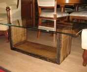 coffee table / Solid oak base with 10 mm glass top.
