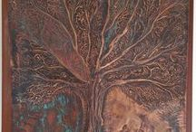 Embossed copper,Tree of Life / Embossed copper,cold patina,on massaranduba wood.