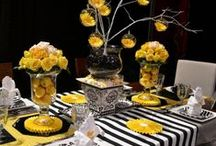 Sassy Spaces TM- Home at it's Best / Beautiful Black, and White, table settings. #weddings,#recipes,#food & drink.