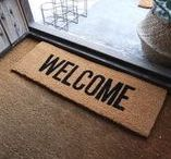 Delightful Door Mats / Everyone knows first impressions are important. A doormat is just that for your home: the first hello. Establish the tone you want for your home with a cheeky welcome message to your guests. #doorstep