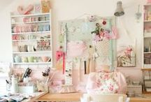 Studios - Creative Spaces / Sew pretty decorating ideas for a perfect sewing or craft studio.