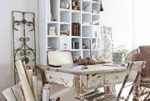 Home Office Inspiration / Home office spaces, large and small. All with shabby cottage charm.