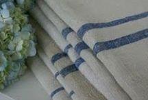 French Textiles / Blue, red, linen, grain sack, texture, softness......