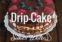 dripcake / Eine spezielle Kuchenart. Dripcake finde ich klasse, es sieht toll aus, wenn der Guss langsam über den Kuchen läuft. Drip-cake kommt aus den USA und hier findet Ihr einige Rezepte.