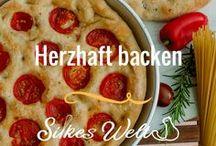 Herzhaft backen / Man kann auch herzhaft backen. Hier meine Lieblingsrezepte für herzhaftes aus dem Backofen. Sie es Pizzen, Fougasse, Focaccia oder Flammkuchen. Hier gibt es die Rezepte. #herzhaft #backen #Pizza #fougasse #focaccia