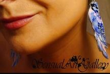 Sensual Art Jewelry - FOR SALE! / Kolczyki malowane ręcznie farbami akrylowymi na naturalnej skórze.  Wyjątkowo lekkie, wygodne w noszeniu, 100% ekologiczne i naturalne. Doskonałe do wiosennych i letnich kreacji.