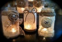 BURLAP,MASON JARS,CANDLES AND MORE JARS / by Rosie Lujan