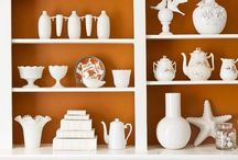 Home | white on display / White dishes, figurines, serving pieces, and decor displayed beautifully.