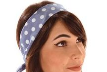 """Rockabilly Head Scarves / Head scarf styles and inspiration including Audrey Hepburn, sweet bobby soxers and cool rockabilly chicks.   Includes """"How to Tie a Head Scarf"""" Guides."""