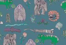 Printed textiles / forest flowers zoo jungle