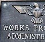 Z-US-WPA / (1935-1943) The Works Project Administration (WPA), was the largest and most ambitious New Deal agency, employing millions of unskilled workers to carry out public works projects including the construction of public buildings and roads, and operated large arts, drama, media and literacy projects.