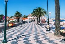 Portugal Pavements and Streets / A collection of images from the streets of Portugal including calçada, black and white patterned cobblestones and street decorations.