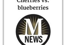 Cherries vs. Blueberries / What should be the State of Michigan's official state fruit: cherry or blueberry? This board was created in 2014 when that discussion started. We found recipes that support both Team Cherry and Team Blueberry. (By the way, neither one was chosen. There still is no official state fruit.)