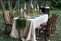 Tablescapes  / A more connected way to cover a table in flowers and groupings of botanicals and interesting elements.   Can design to fit any budget but figure $99 min per table.  The look is continual and lush so you do not want to skimp and have bare spots