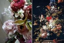 Dutch Masters / Some call this style 'the new Dutch Masters'. The inspiration is from the still life paintings of the Dutch Masters. Moody, lush and abundant arrangements that celebrate the bounty of the season.  It's lush, asymmetrical, and flowers are clustered in groups, fruit, even vegetables and textural, wild greens.  It is timeless, classic and romantic. sigh.