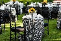 Black and White Weddings / Wedding tablecloths and special event linens for a black and white party.