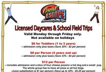 DAYCARE and SCHOOL FIELD TRIP SPECIALS / Check out our daycare and school field trip specials at The Great Escape in Langley, BC. Great savings from 25% to 35% off. Fun for toddlers and older children. You can also add food to this.