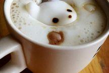 Tea time お茶の時間 / コーヒーと紅茶とハーブティーが好きで、画像のようなラテアートが出来たらいいですね〜❤️