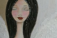 Mixed media Whimsical faces Tracy Easson / sharing my love to doodle and paint whimsical faces.