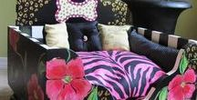Hand painted dog beds / Past dog bed designs by Lucy Designs. I'm no longer creating the dog beds