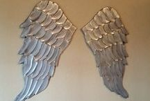 Angels and Angel Wings / wood angel wings and angel art / by Lucy Designs