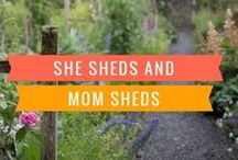 "She Sheds or Mom Sheds / She Shed Ideas and Inspiration! Lots of ideas on tiny houses, and areas to use for an office. I love what designer Sarah Richardson calls a ""bunky"" or a bunkhouse. There's nothing more charming than the idea of having a small bunkhouse in our backyard to use as an office or guest room. I'm obsessed with putting a bunkhouse in our garden!"