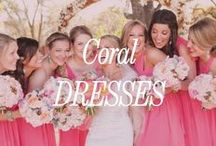 Coral Bridesmaid Dresses / We're gushing for coral Bridesmaid Dresses right now. Pair it with teal or blue accessories and we're in heaven.
