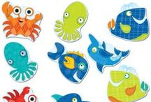 Seaside Splash Classroom Decor  / Make a huge splash in your classroom with the inviting Seaside Splash featuring colorful characters from the sea! Also great for home, office, and beach-themed parties! Designed to coordinate with our Bubbly Blues Classroom Coordinates. Check out the Bubbly Blues pin board! / by Carson-Dellosa Publishing
