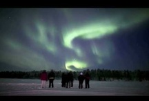 Northern lights - Aurora Borealis / The northern lights, aurora borealis, are a magical phenomenon appearing in the arctic or antarctic night sky in wintertime.