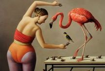 Flamingomania / pink, feathery flamingo madness. a moodboard.