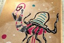 Flamingo Frenzy / A series of flamingo drawings.  Markers on cardboard.