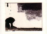 """1986/1999 - Viagens / """"Viagens"""" é um projeto de longa duração.  Desde a criação das imagens (sua percepção e compreensão), até o encontro com o texto (que não foi escrito especificamente para o projeto), a sua apresentação em lâminas soltas com o texto manuscrito no verso passaram-se três estações e treze longos anos.  Do verão ao inverno, uma viagem sem primaveras.  Simplesmente porque foi assim.  Monotipias de Murilo Pagani."""