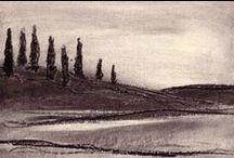 1993 - Noturnos / Desenho a carvão de Murilo Pagani