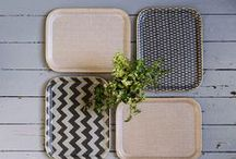 Tori Murphy Serving Trays / These wonderful trays are made using our woven cotton fabric and fibre glass. Finished with a gold trim, they are beautiful, strong and make serving a pleasure. A collection of serving trays featuring iconic, well-loved Tori Murphy prints.
