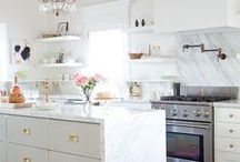 dream kitchen / I love white cabinets, subway tile, open shelves, copper & gold accents, touches of grey, and lots of light!