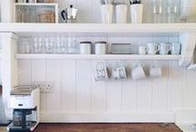 kitchen / Bright white rustic kitchens - open shelves, period features and minimalist style
