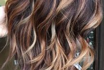 Balayage hair / Brunette and bronde balayage with face-framing highlights